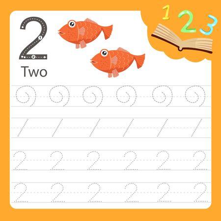 Illustrator of Worksheet writing practice number two animal, vector illustration exercise for kid Иллюстрация