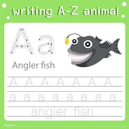 Illustrator of writing a-z animal a angler fish, vector illustration exercise for kid Фото со стока - 129705729