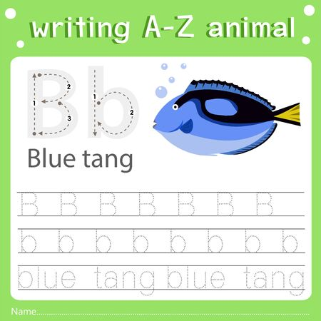 Illustrator of writing a-z animal b blue tang, vector illustration exercise for kid
