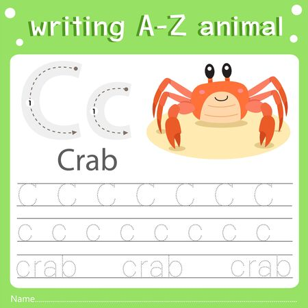 Illustrator of writing a-z animal a crab, vector illustration exercise for kid