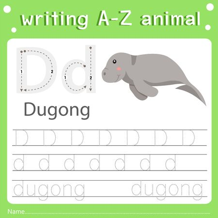 Illustrator of writing a-z animal d dugong, vector illustration exercise for kid