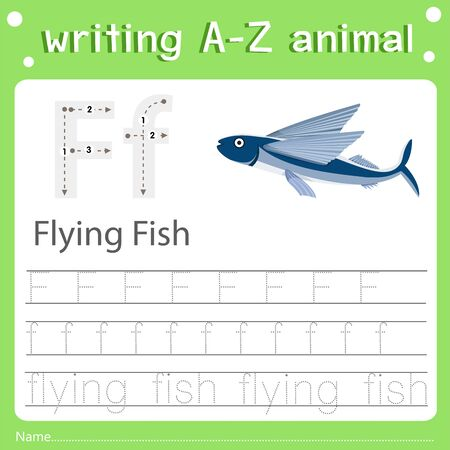 Illustrator of writing a-z animal f flying fish, vector illustration exercise for kid Фото со стока - 129705825