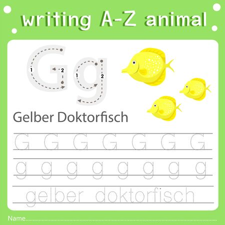 Illustrator of writing a-z animal g gelber doktorfisch, vector illustration exercise for kid