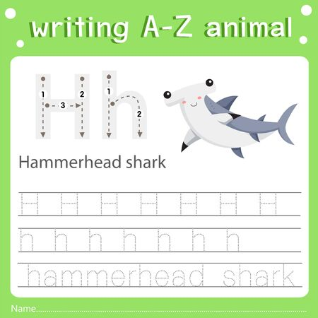 Illustrator of writing a-z animal h hammerhead shark, vector illustration exercise for kid Фото со стока - 129705850