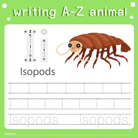 Illustrator of writing a-z animal i isopods, vector illustration exercise for kid Иллюстрация