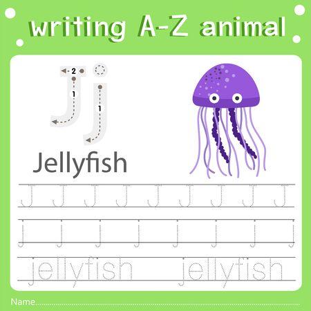 Illustrator of writing a-z animal j jellyfish, vector illustration exercise for kid