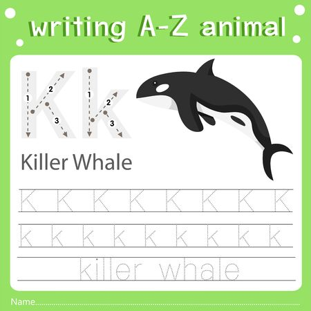 Illustrator of writing a-z animal k killer whale, vector illustration exercise for kid Фото со стока - 129705864