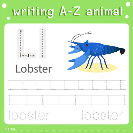 Illustrator of writing a-z animal l lobster, vector illustration exercise for kid Фото со стока - 129705879