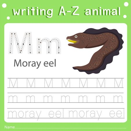 Illustrator of writing a-z animal m moray eel, vector illustration exercise for kid Иллюстрация