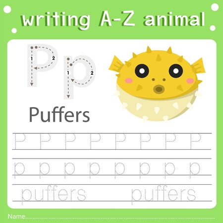 Illustrator of writing a-z animal p puffers Фото со стока - 129705931