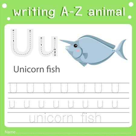 Illustrator of writing a-z animal u unicorn fish Иллюстрация