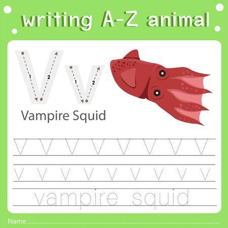 Illustrator of writing a-z animal v vampire squid
