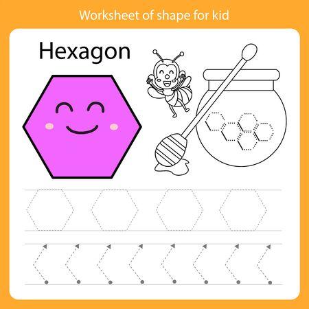 Illustrator of Worksheet of shape for kid hexagon Illustration