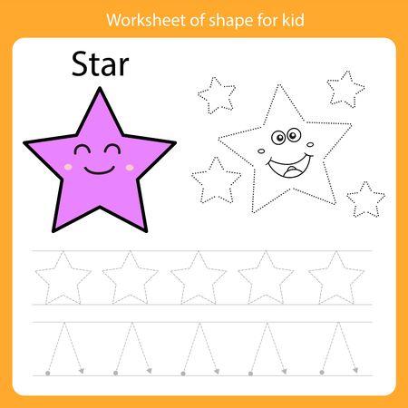 Illustrator of Worksheet of shape for kid star Vector Illustration