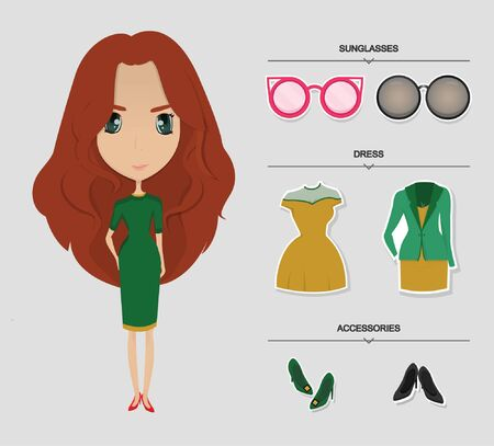 red hair: Women red hair and green dress with accesories set