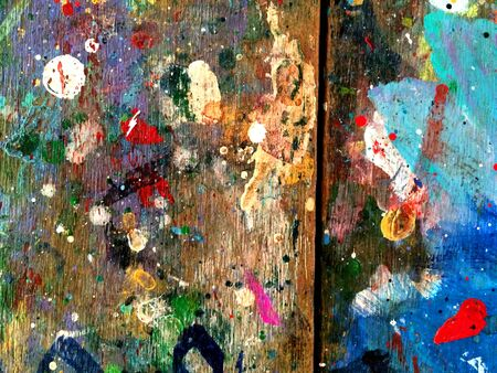 urban decay: color splashes on wooden wall