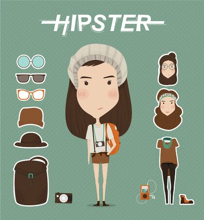indy: Hipster girl character with hipster elements and icons Illustration