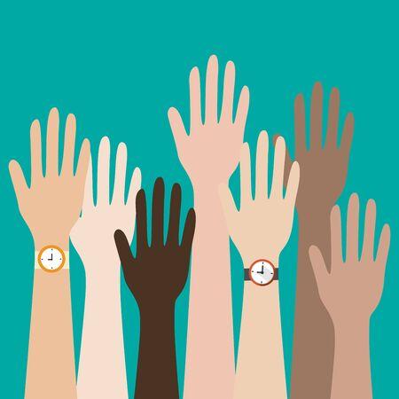 manos levantadas ilustración de diseño .