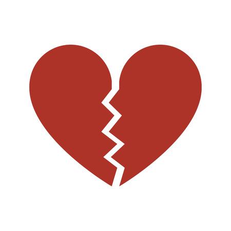 Desamor rojo, icono de corazón roto. Vector aislado sobre fondo blanco.