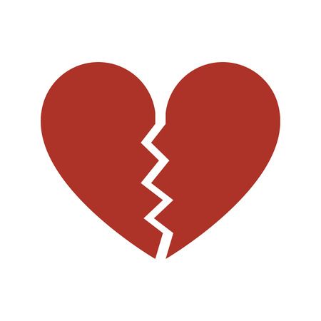 Red heartbreak, Broken heart icon. Isolated vector on white background.