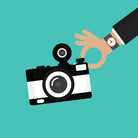 Camera icon. Vintage camera in flat style vector