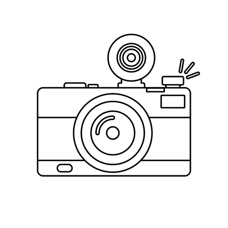 Photographic camera icon. Camera icon in outline style isolated on white background
