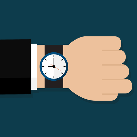 Human hand with watch. Businessman in suit with watch vector illustration