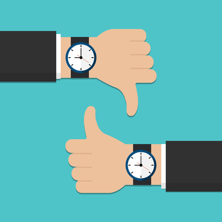 Hand with watch, thumbs up and thumbs down vector illustration