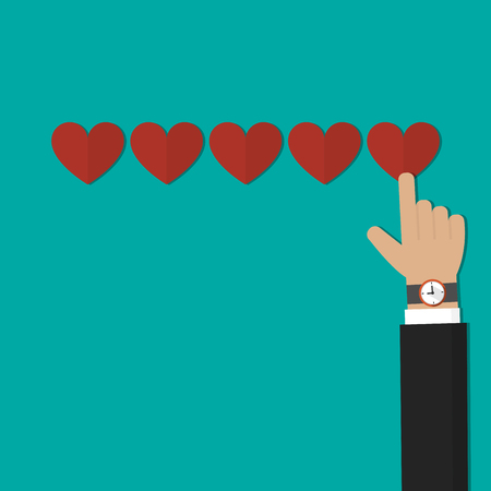Hand pointing, Businessman hand giving five heart rating. Feedback concept vector
