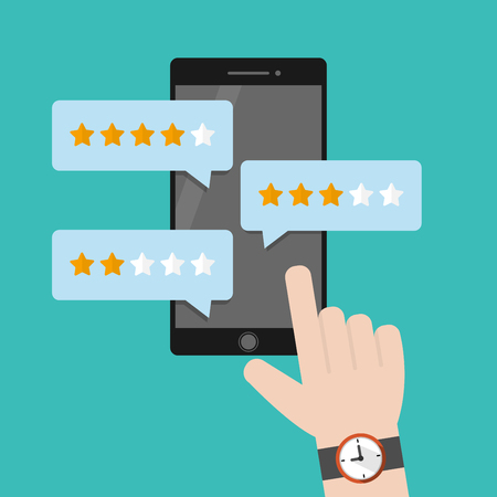 Human Fingers touching phone. Review rating on mobile phone. Feedback concept vector