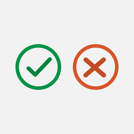 Check mark icon. Green tick and red cross flat line icons set vector Ilustracja