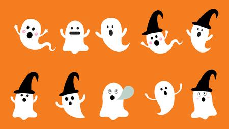 Satz des flachen Designvektors des netten Geistes für Halloween