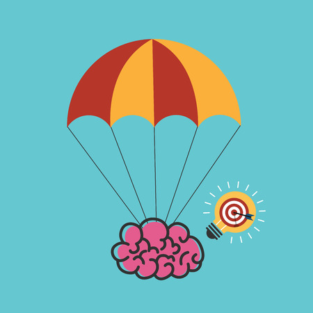 Creative idea with light lamp. Parachute with brain. Brain flying on parachute Vector illustration.