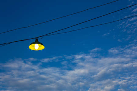 lamp on blue sky Background Stock Photo - 16658816