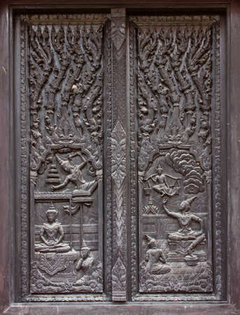 woodcarving: window woodcarving in temple, Thailand