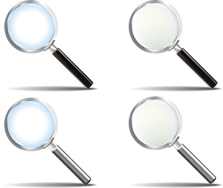 Realistic Glossy Magnifying Glass set Illustration