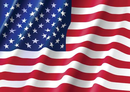 banderas america: Ondeando la bandera de Estados Unidos de América Vectores