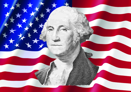 george washington: George Washington on United of America Flag, Washington from Dollar Bill Illustration