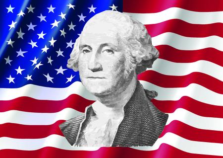 George Washington on United of America Flag, Washington from Dollar Bill Illustration