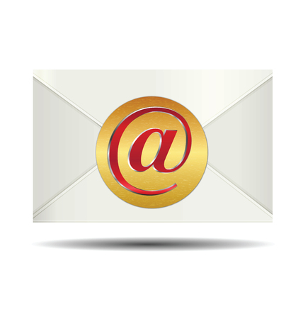 received: Red Email Sign On Gold Plate and Closed White Envelope