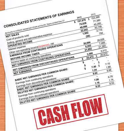 cash flow statement: Cash Flow Rubber Stamp Text On White Paper And Oak Table