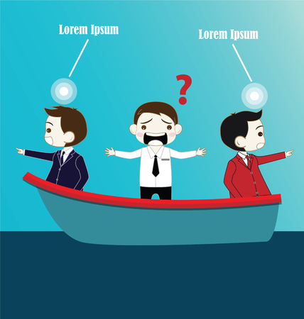 teamwork cartoon: Two Businessman with conflict thinking in boat