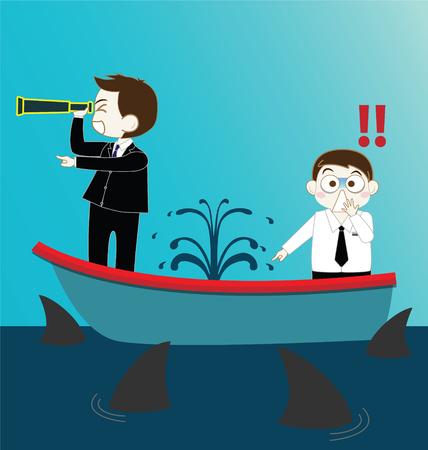 shark cartoon: Dos Hombre de negocios en fugas hunde barco con tiburones