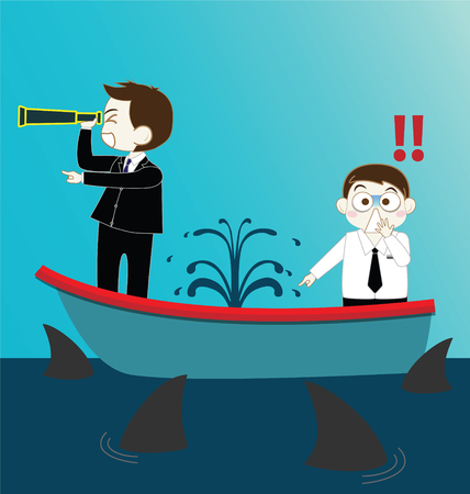 cartoon businessman: Two Businessman on Leak sinking boat with sharks