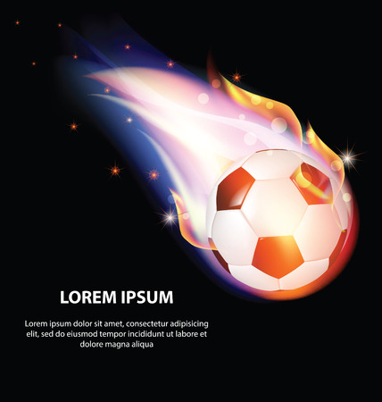 Isolated Fire Soccer Ball or Football Symbol with Stars