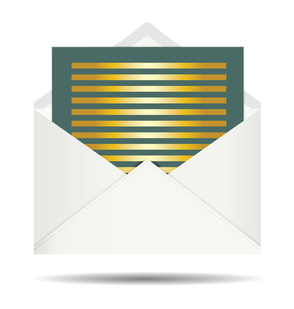the envelope: Gold Letter and Opened White Envelope