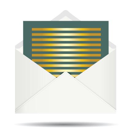 envelope: Gold Letter and Opened White Envelope