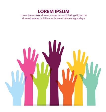manos levantadas: Muchos colorido mano hasta el fondo Vectores