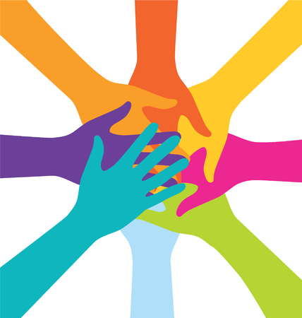 team business: Many Teamwork People Join Colorful Hand