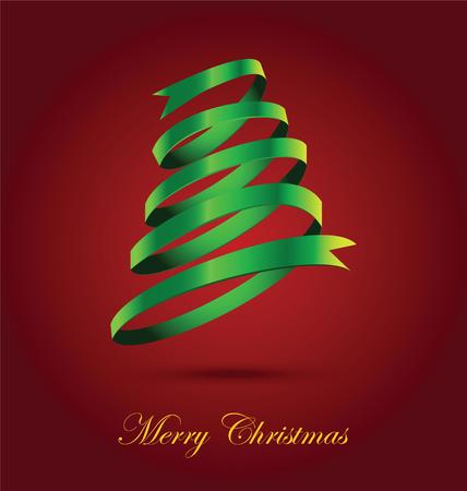 green ribbon: Green Ribbon Christmas Tree On Red Background Illustration